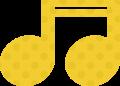 連桁付き16分音符・黄色音符マークイラスト、水玉模様