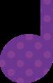 4分音符・紫色音符マークイラスト、水玉模様