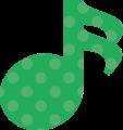 16分音符・緑の音符マークイラスト、水玉模様