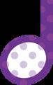 2分音符・紫色音符マークイラスト、水玉模様