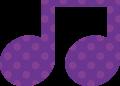 連桁付き8分音符・紫色音符マークイラスト、水玉模様