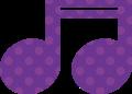 連桁付き16分音符・紫色音符マークイラスト、水玉模様