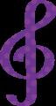 ト音記号・紫色の音符マークイラスト、水玉模様