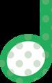 2分音符・緑の音符マークイラスト、水玉模様