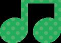 連桁付き8分音符・緑の音符マークイラスト、水玉模様