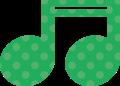 連桁付き16分音符・緑の音符マークイラスト、水玉模様