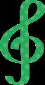 ト音記号・緑の音符マークイラスト、水玉模様