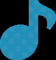 8分音符・水色の音符マークイラスト、水玉模様