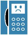 電話マークイラスト・困り顔のプッシュホン