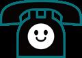 電話の表情付きイラスト・ニコニコ顔の黒電話