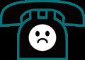 電話の表情付きイラスト・困り顔の黒電話