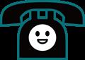 電話表情付きイラスト・笑顔の黒電話