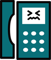 電話の表情付きイラスト・渋い顔のプッシュホン