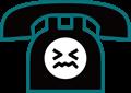 電話の表情付きイラスト・・渋い顔の黒電話