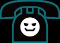 電話の表情付きイラスト・悪人顔の黒電話