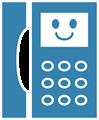 電話マークイラスト・ニコニコ顔のプッシュホン