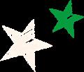 星のマーク・緑とクリーム色