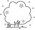 桜の木のフレーム、白黒