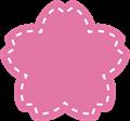 桜型ラベルフレーム枠・アップリケ、ワッペン風ステッチ付き