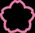 桜型ラベルフレーム枠・モコモコ切り抜き