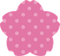 桜型ラベルフレーム枠・水玉模様