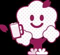 桜の花ビールで乾杯イラスト素材・白黒印刷用