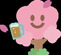桜の花がビールで乾杯イラスト素材