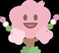 桜の木がお花見団子を持っているイラスト素材