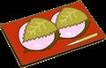 赤い菓子皿の上に二つの桜餅がのせてあるイラスト