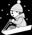 ソリ遊びをする子供モノクロイラスト