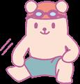 水泳パンツで下半身の体操をするクマの男の子イラスト