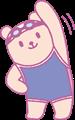 スクール水着で上半身の体操をするクマの女の子イラスト