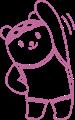 スクール水着で上半身の体操をするクマの女の子イラスト・線画