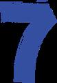 マジック、マーカー、ペンキ風手書き数字イラストの7・青色