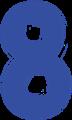 マジック、マーカー、ペンキ風手書き数字イラストの8・青色