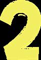 マジック、マーカー、ペンキ風手書き数字イラストの2・黄色