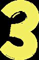 マジック、マーカー、ペンキ風手書き数字イラストの3・黄色