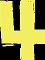 マジック、マーカー、ペンキ風手書き数字イラストの4・黄色