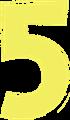 マジック、マーカー、ペンキ風手書き数字イラストの5・黄色