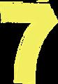 マジック、マーカー、ペンキ風手書き数字イラストの7・黄色