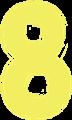 マジック、マーカー、ペンキ風手書き数字イラストの8・黄色