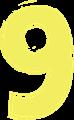 マジック、マーカー、ペンキ風手書き数字イラストの9・黄色