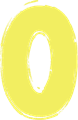 マジック、マーカー、ペンキ風手書き数字イラストの0・黄色