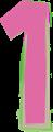数字の1、ピンクと緑