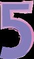 数字の5、紫とピンク