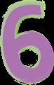 数字の6、紫と緑