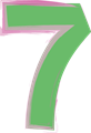 数字の7、緑と紫