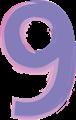 数字の9、紫とピンク