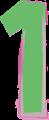 数字の1、緑と紫