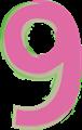 数字の9、ピンクと緑